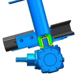 Blue Auger With Blades And Drive Coupling